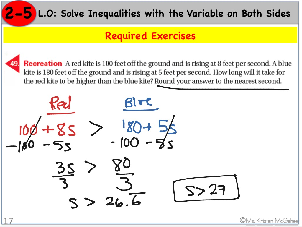 Inequalities With The Variable On Both Sides Word Problem