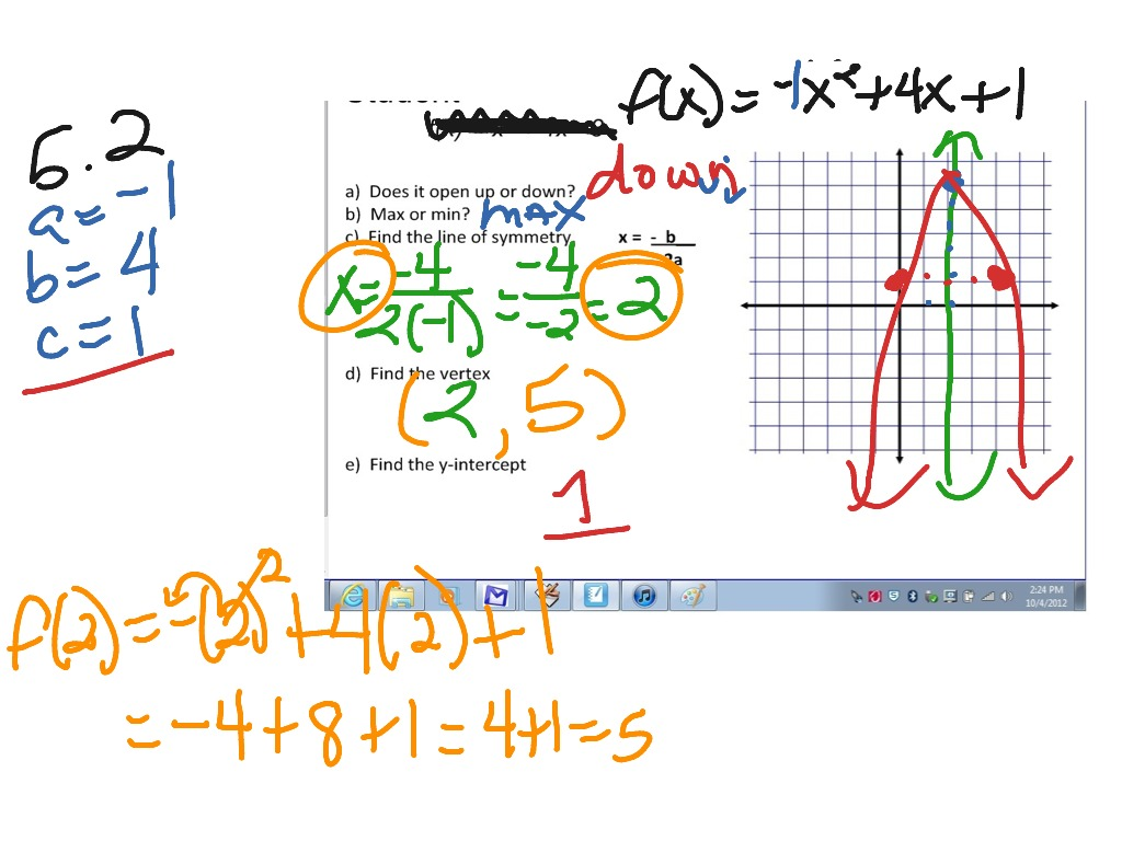 5 2 Graphing Quadratics In Standard Form