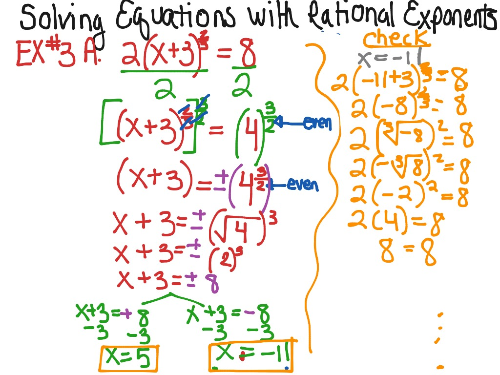 Solving Equations With Rational Exponents Ex 1