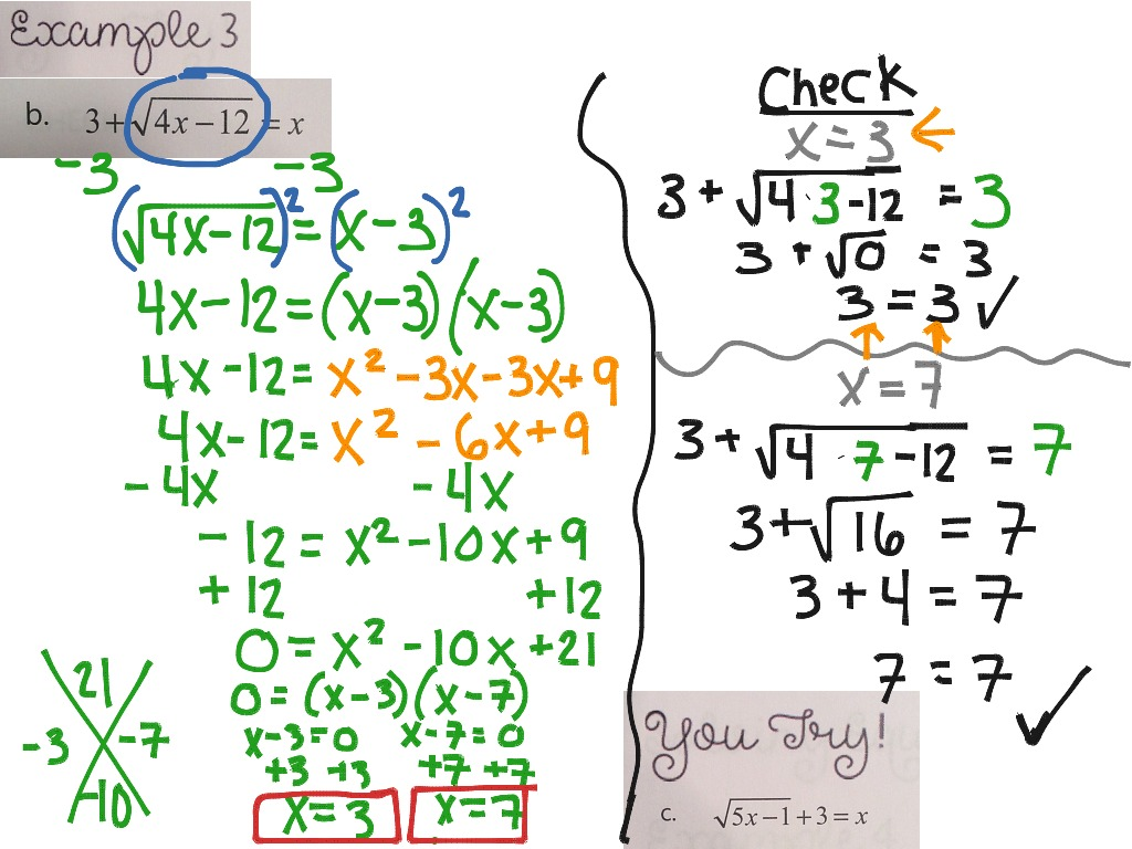 Solving Square Root Equations Worksheet