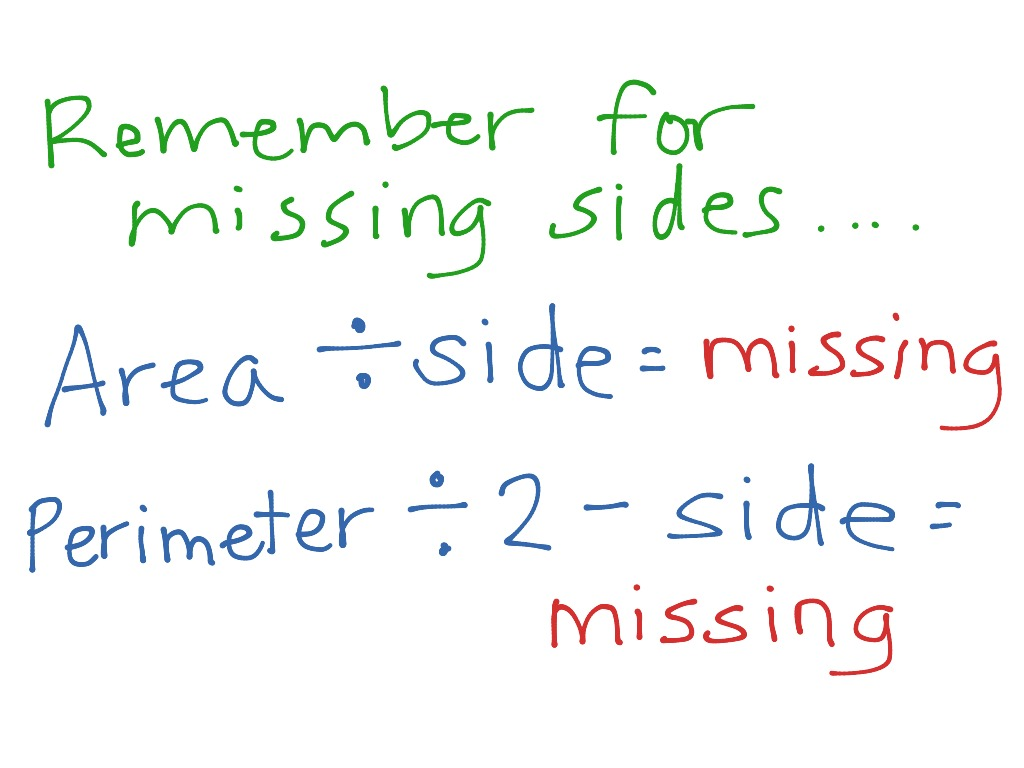Missing Side Area And Perimeter