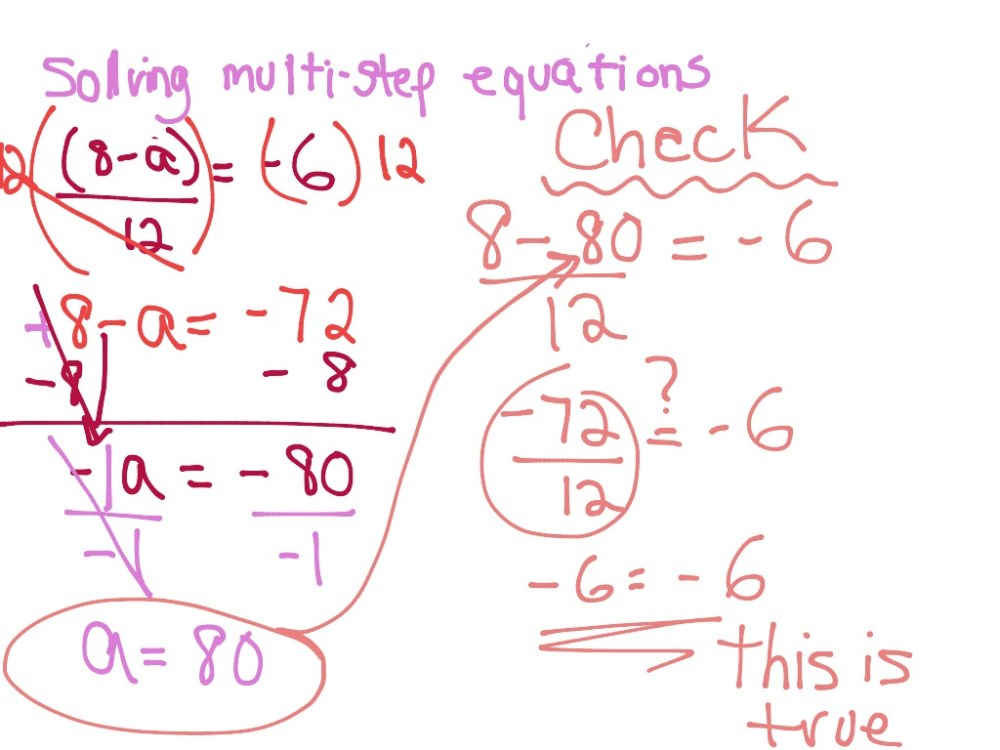 medium resolution of Solving Multi-Step Equations   Math