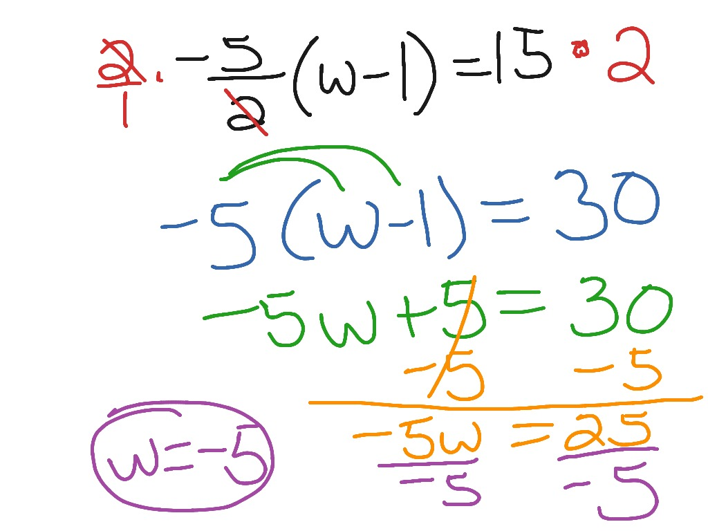 Multi Step Equations With Fractions