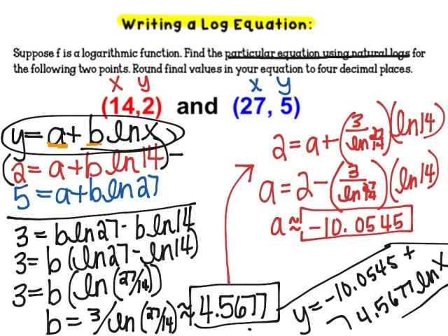 Writing log equation through two points  Math, Precalculus
