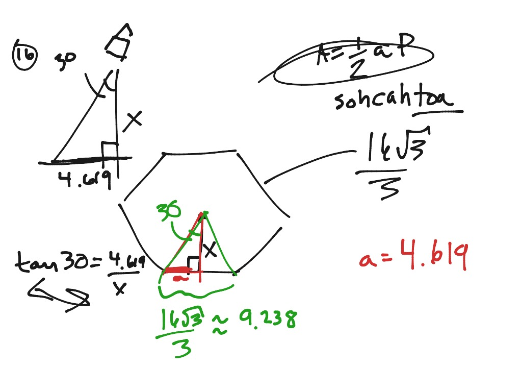Help for number 1 and 16 on areas of reg polygons ws