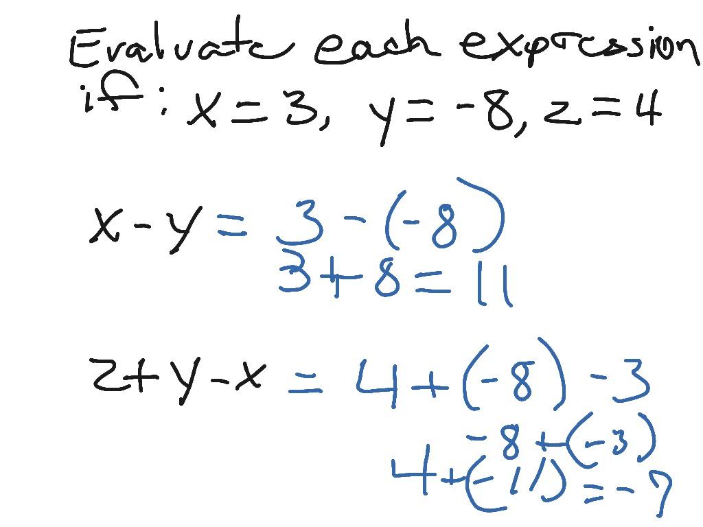 hight resolution of Evaluate Algebraic Expressions   Pre-algebra