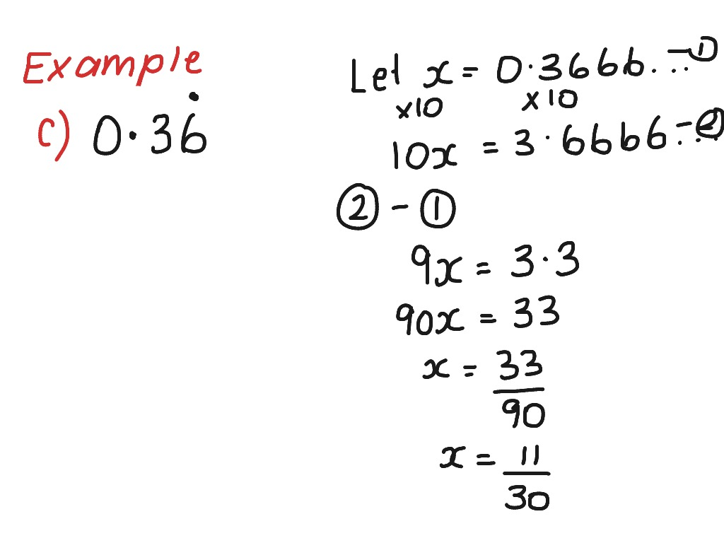 Changing Repeating Decimals To Fractions