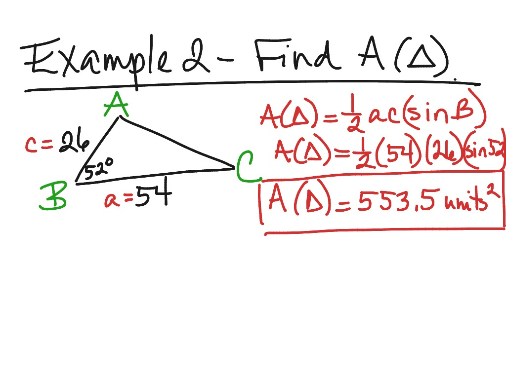 Area Of Triangles Using Trig
