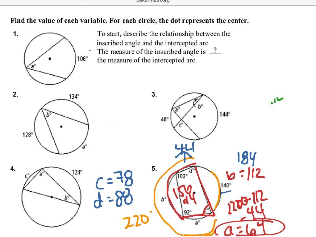 Worksheet Inscribed Angle Worksheet Grass Fedjp