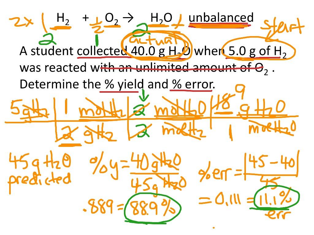 Percent Yield And Percent Error Calculations