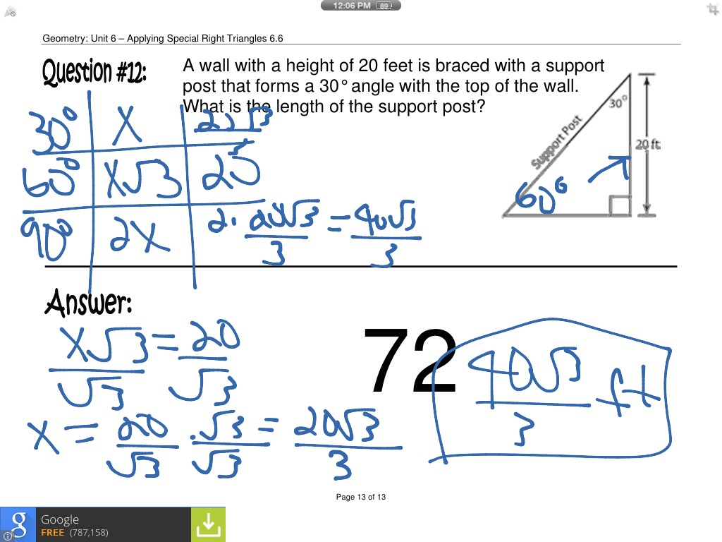 hight resolution of Applying Special Right Triangles   Math