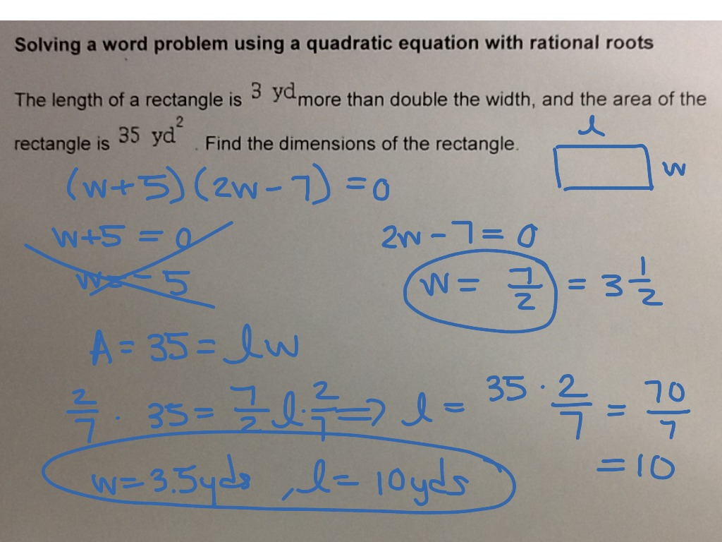 Mat Aleks Module 6 Solving A Word Problem Using A Quadratic Equation With Rational Roots