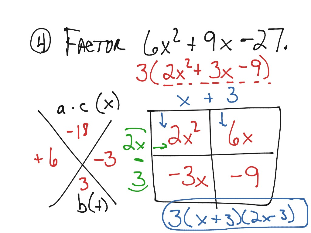 Factoring Ax2 Bx C Worksheet