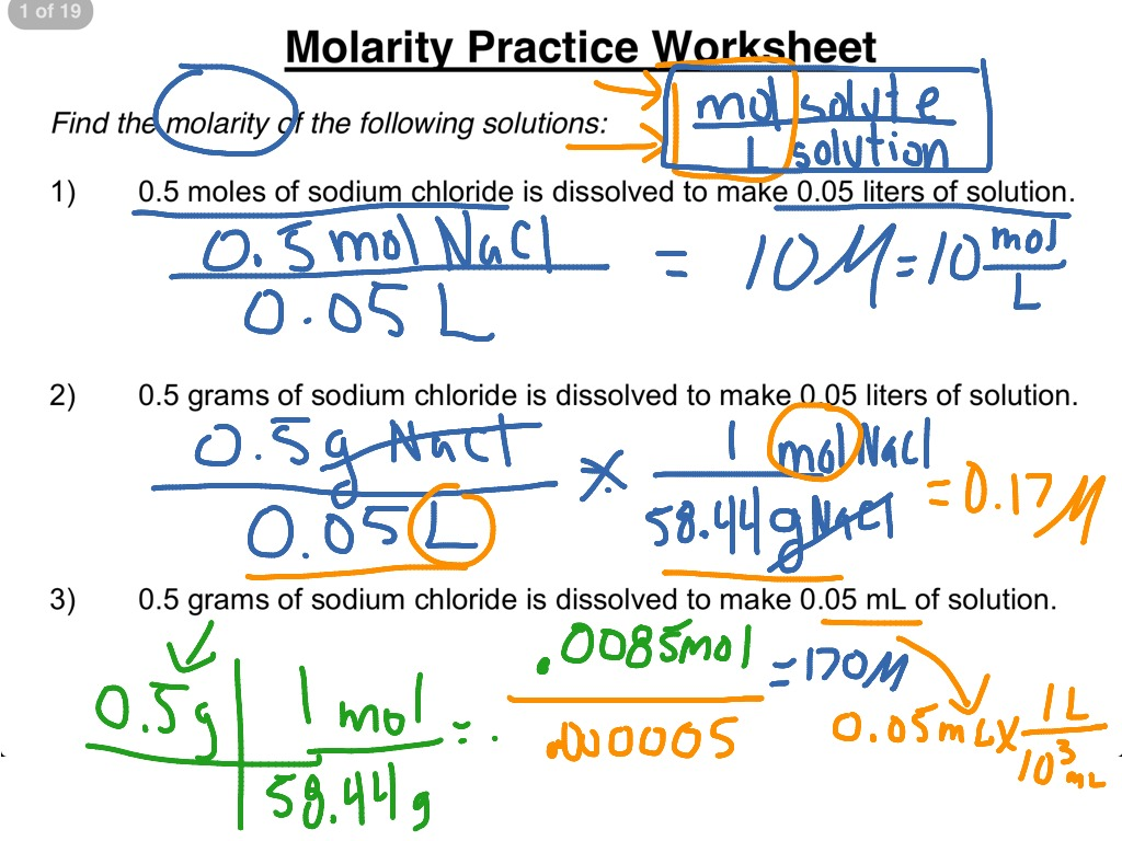 Molarity Worksheet Answers Chemistry
