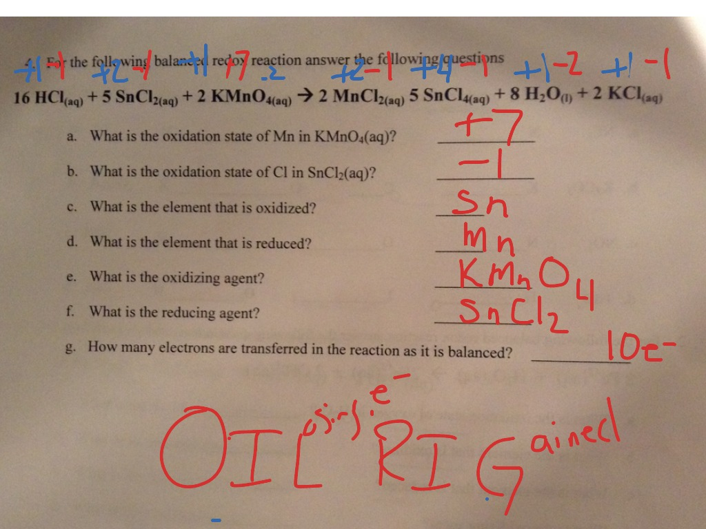 Redox Worksheet 5