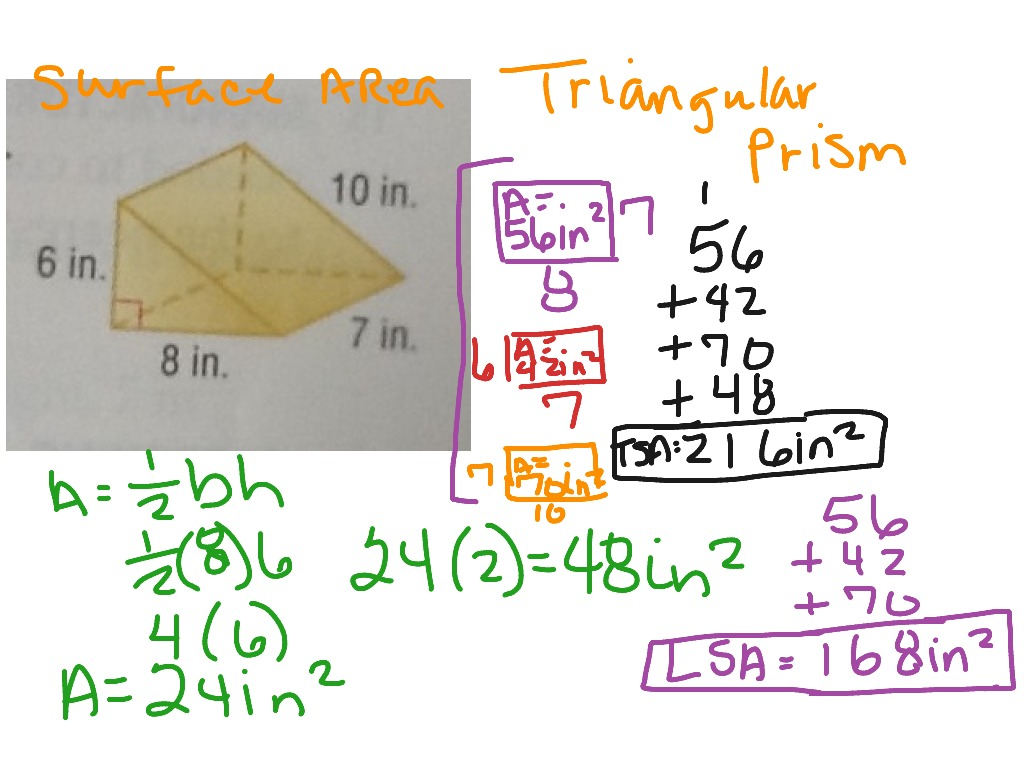 hight resolution of Surface Area of Triangular Prism   Math