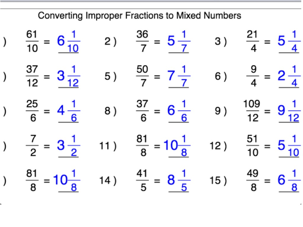 Whole Number 4th Grade Worksheet Changing Improper Fractions Into Mixed Or