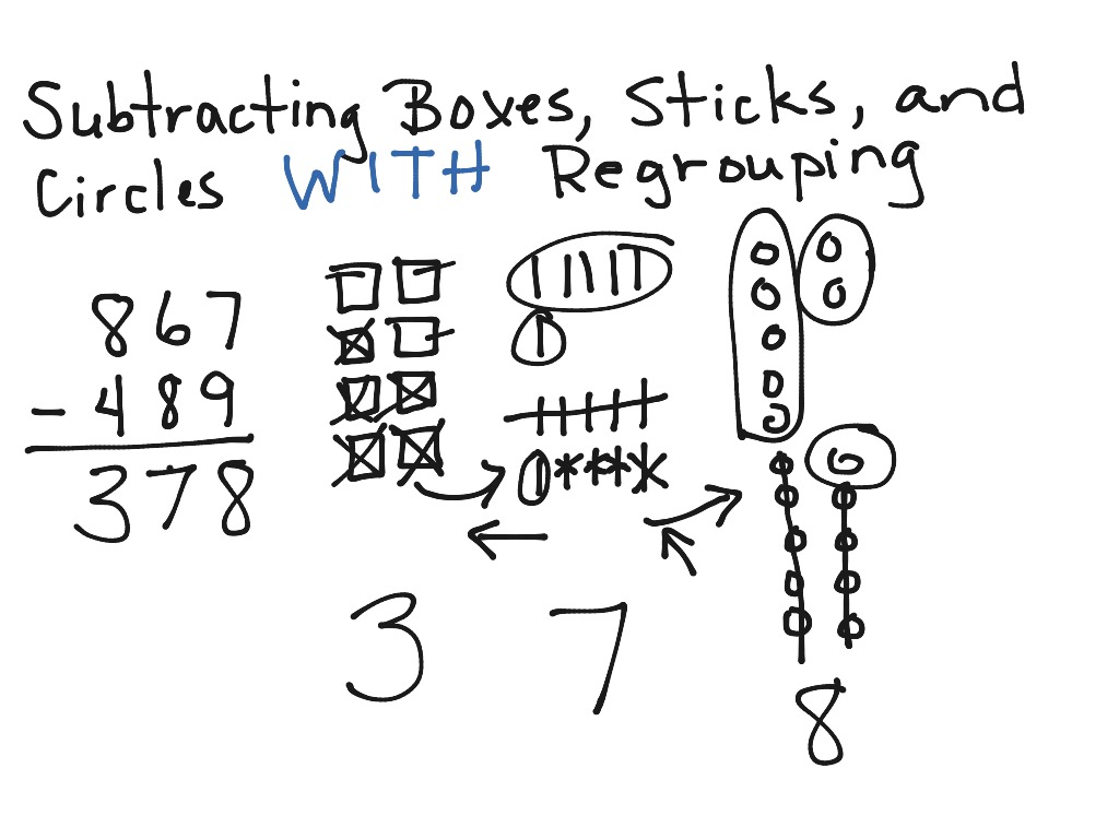 Subtracting Boxes Sticks And Circles With Regrouping