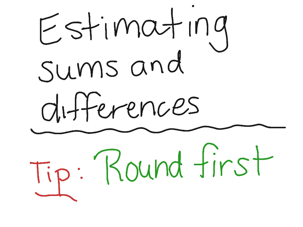 hight resolution of Estimate Sums and Differences   Math