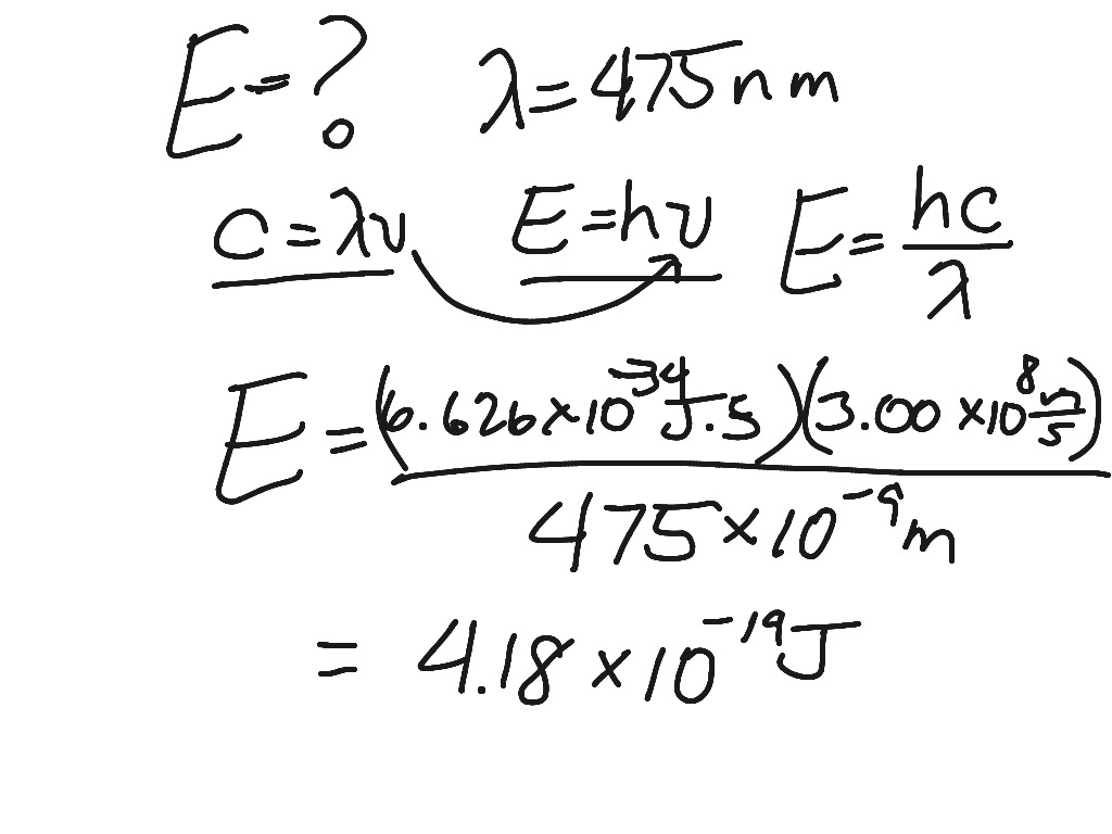 Calculations Using Speed Of Light Equation Planck S Constant