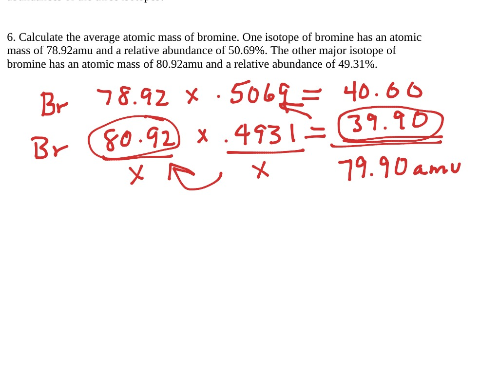 Chapter 11 Average Atomic Mass Calculations