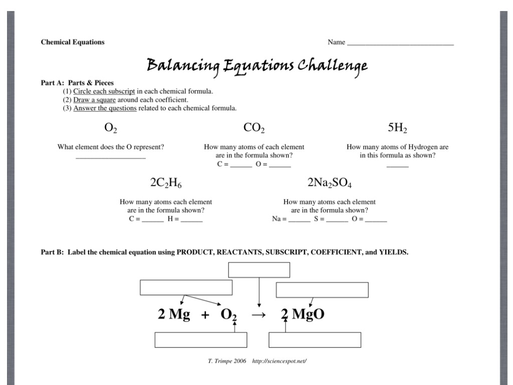 hight resolution of Balancing Equations Challenge Directions   Science