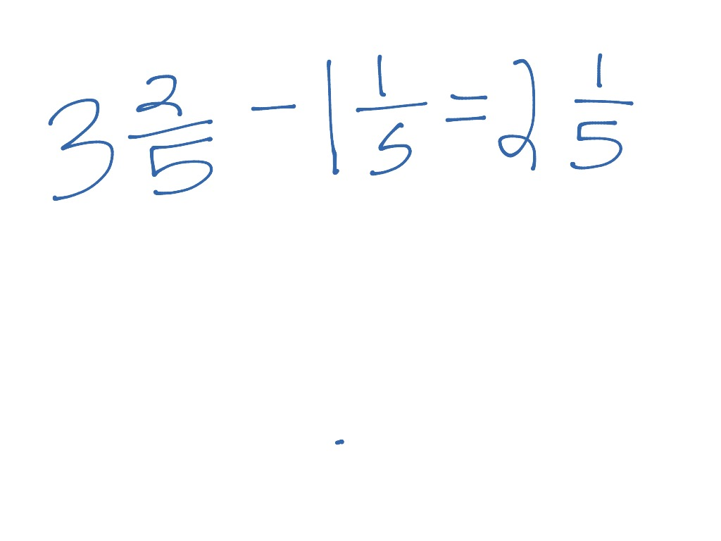 hight resolution of Subtracting mixed numbers without regrouping   Math