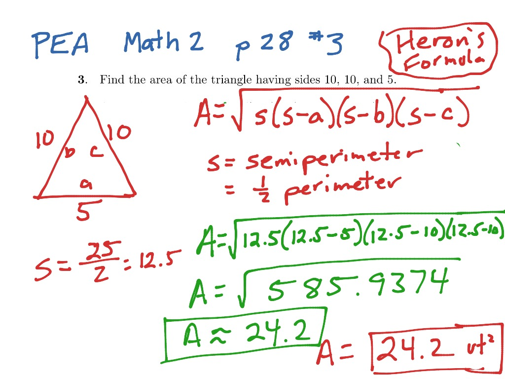 Area Of Triangle Given 3 Side Lengths