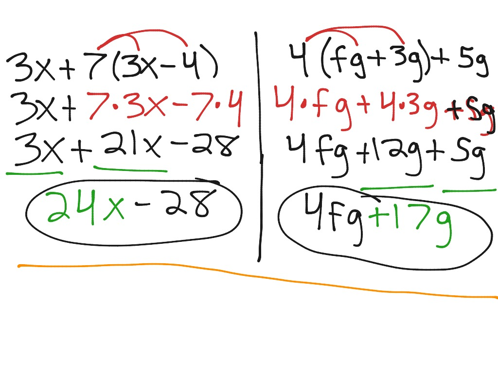 1 4 The Distributive Property Algebra 1
