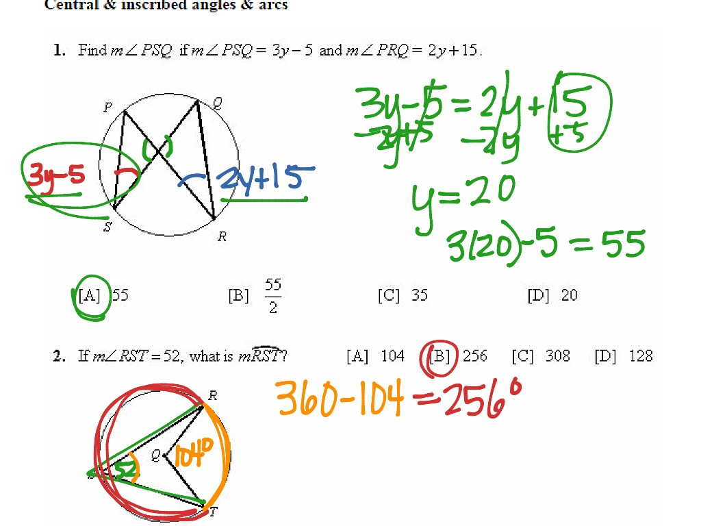 Central And Inscribed Angles And Arcs