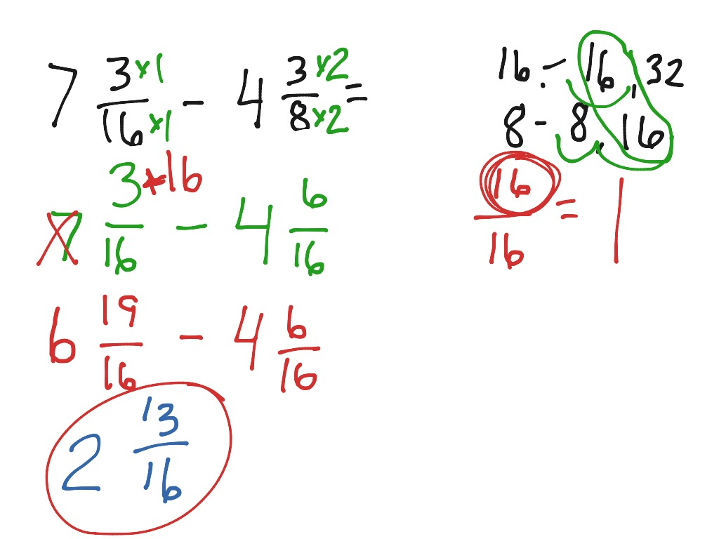 Subtracting Fractions With Renaming Example 2