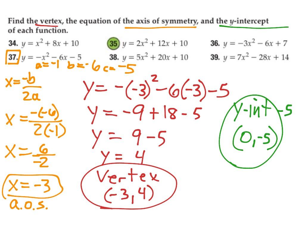 37 P550 Graphing Quadratic Equations