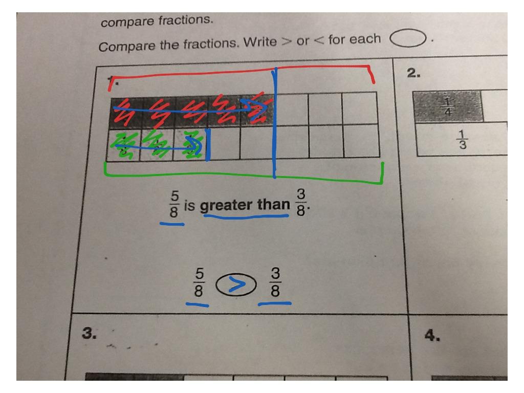 Comparing Fraction Homework Worksheet 10 1 13
