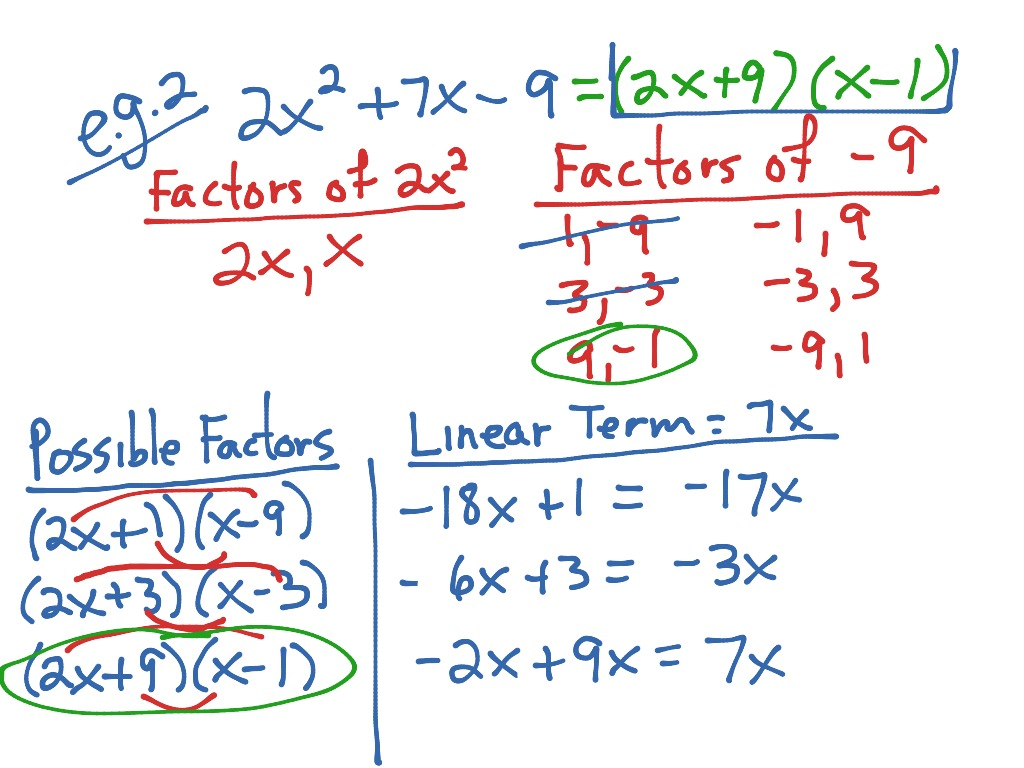 5 9 Factoring Pattern For Ax2 Bx C