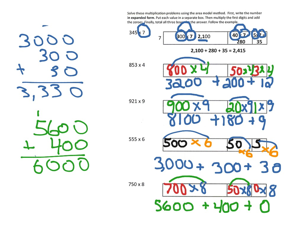 Area Model Multiplication 3 Digit X 1 Digit