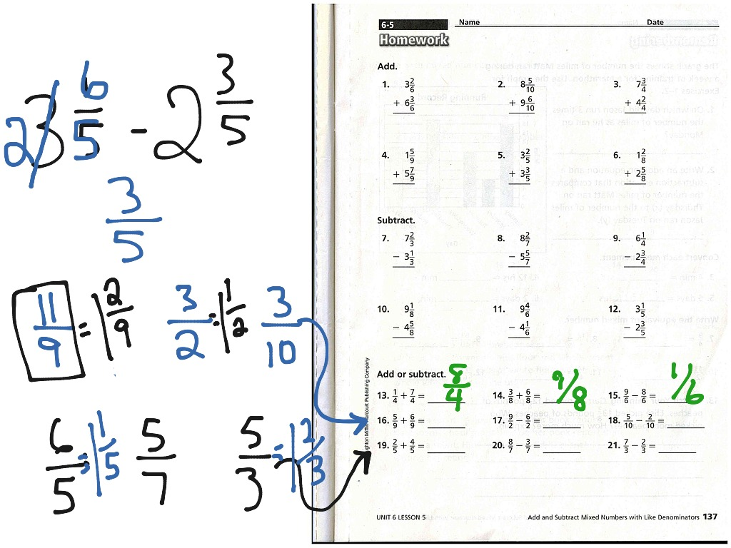 hight resolution of Adding and Subtracting Mixed Numbers   Fractions