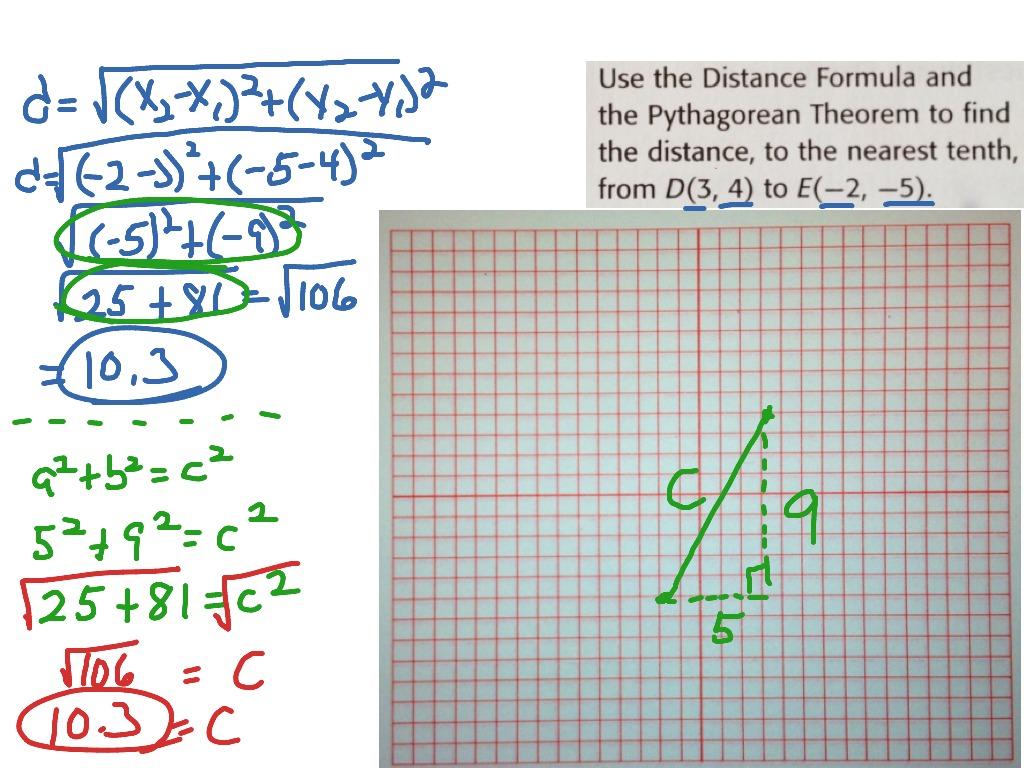 Distance Formula And Pythagorean Theorem