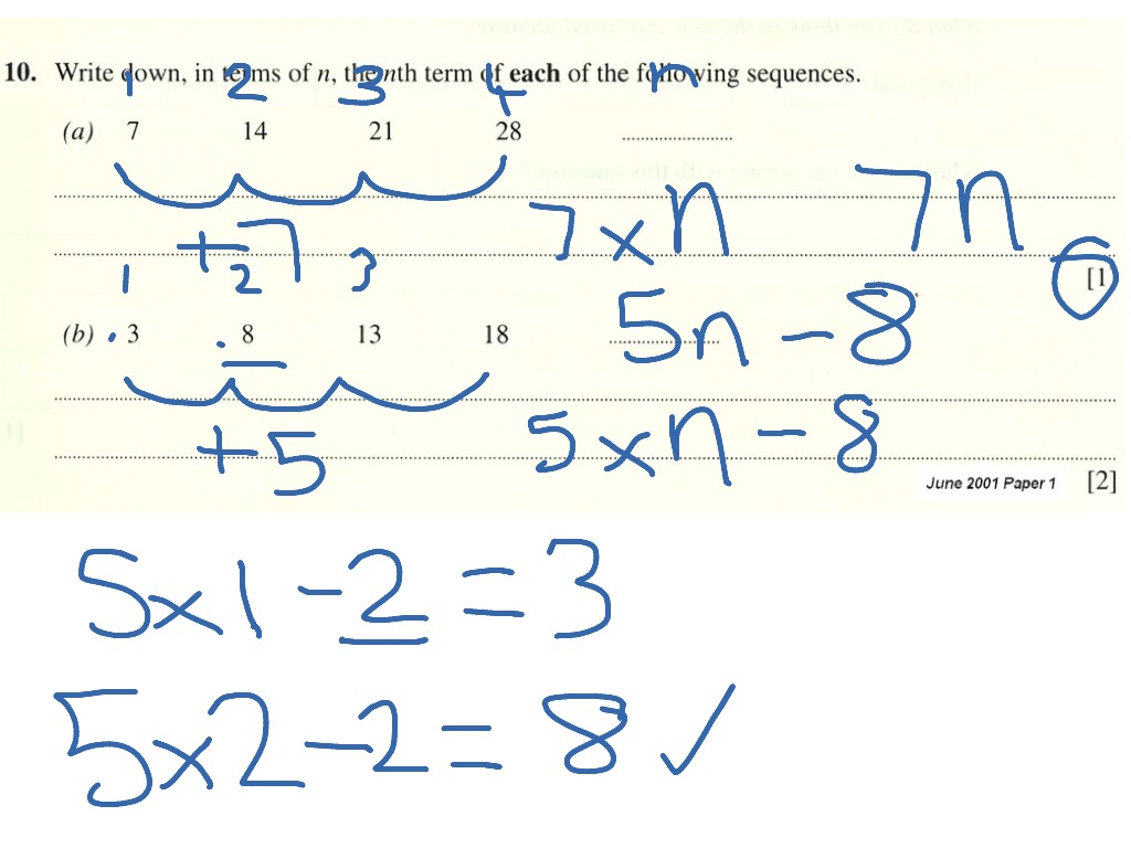 Gcse Foundation Sequences Finding The Nth Term