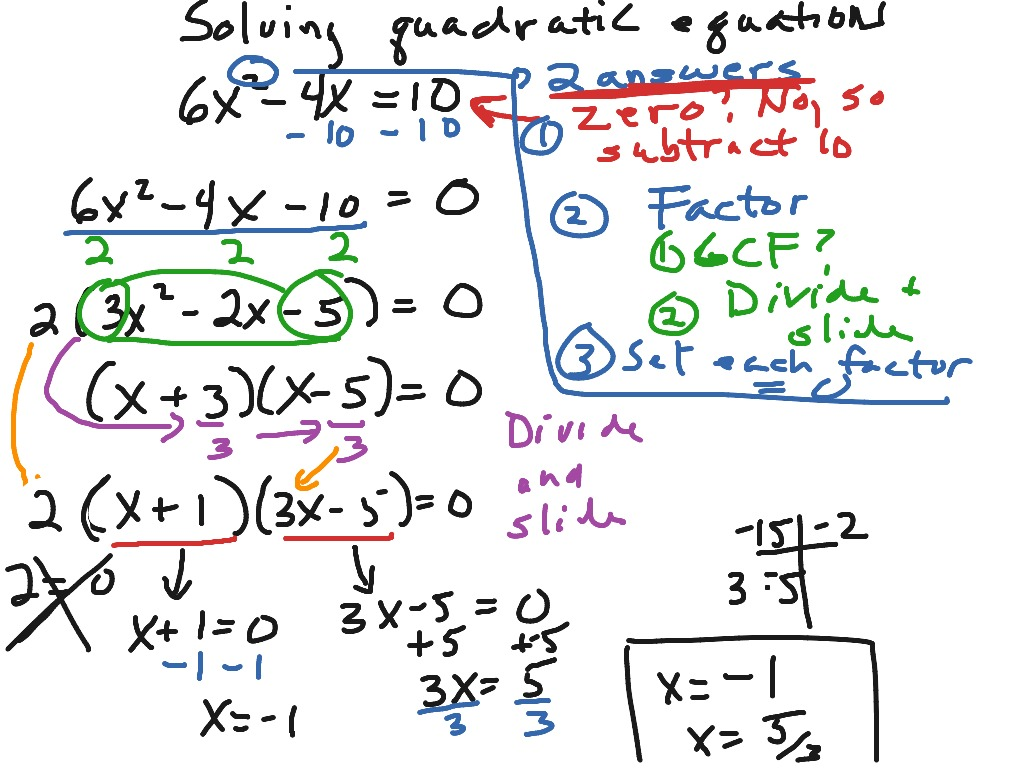 Solving Quadratic Equations Using Factoring