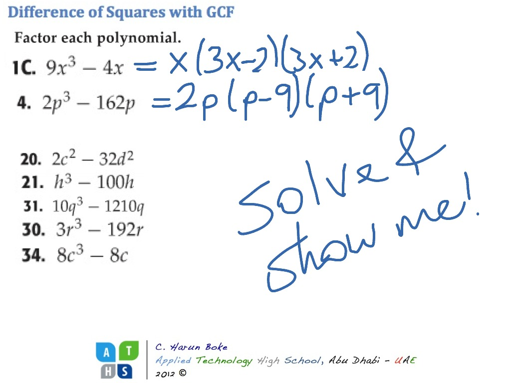 Difference Of Squares With Gcf