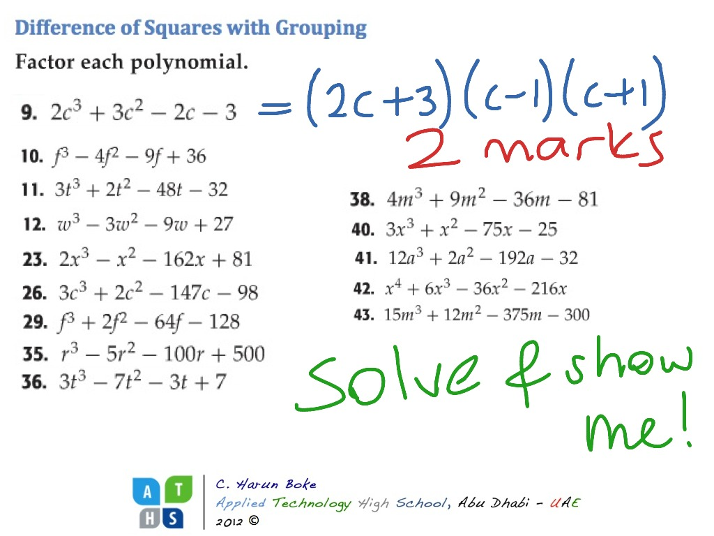 Difference Of Squares With Grouping