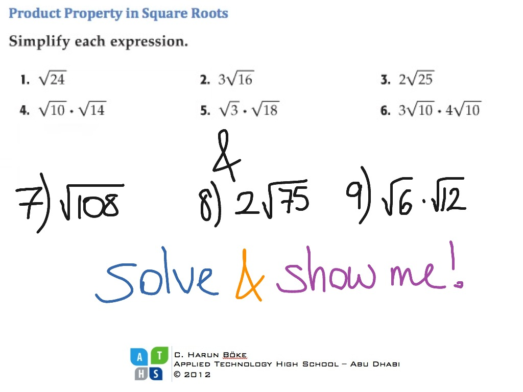 Product Property In Square Root Expressions