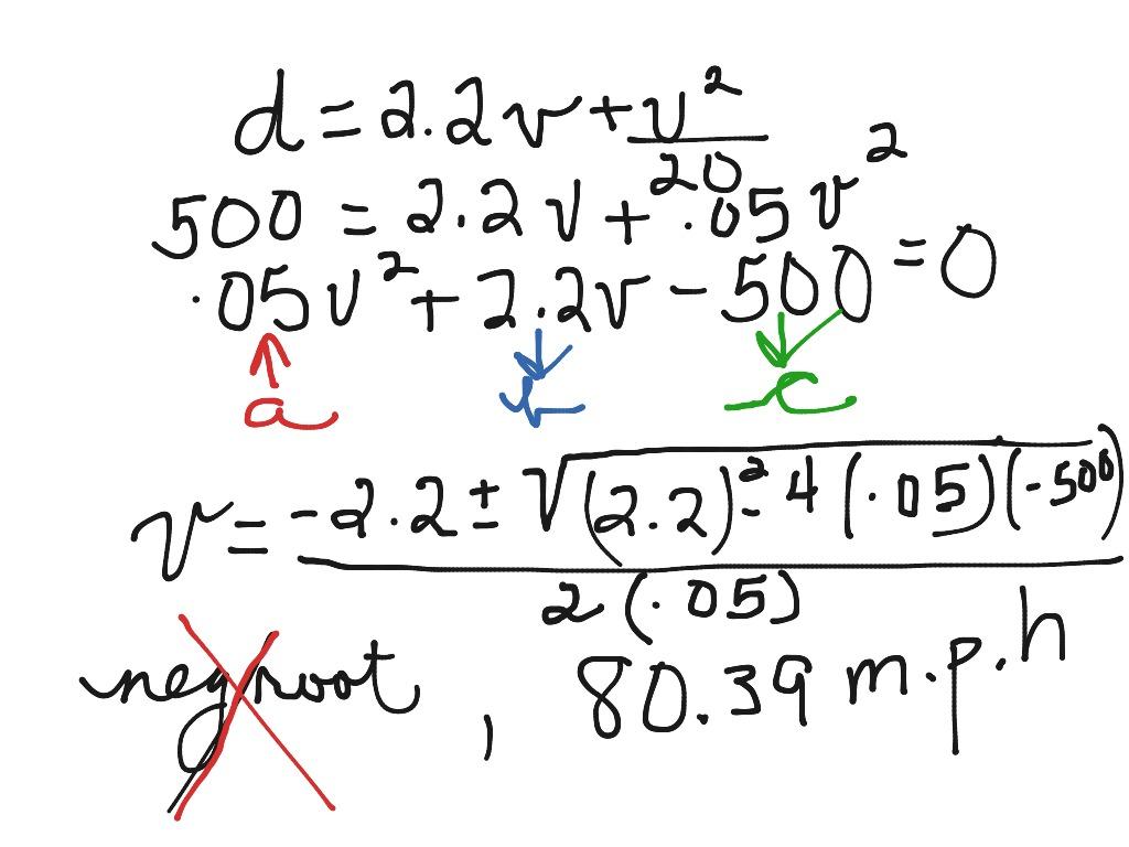 Quadratic Formula With Application