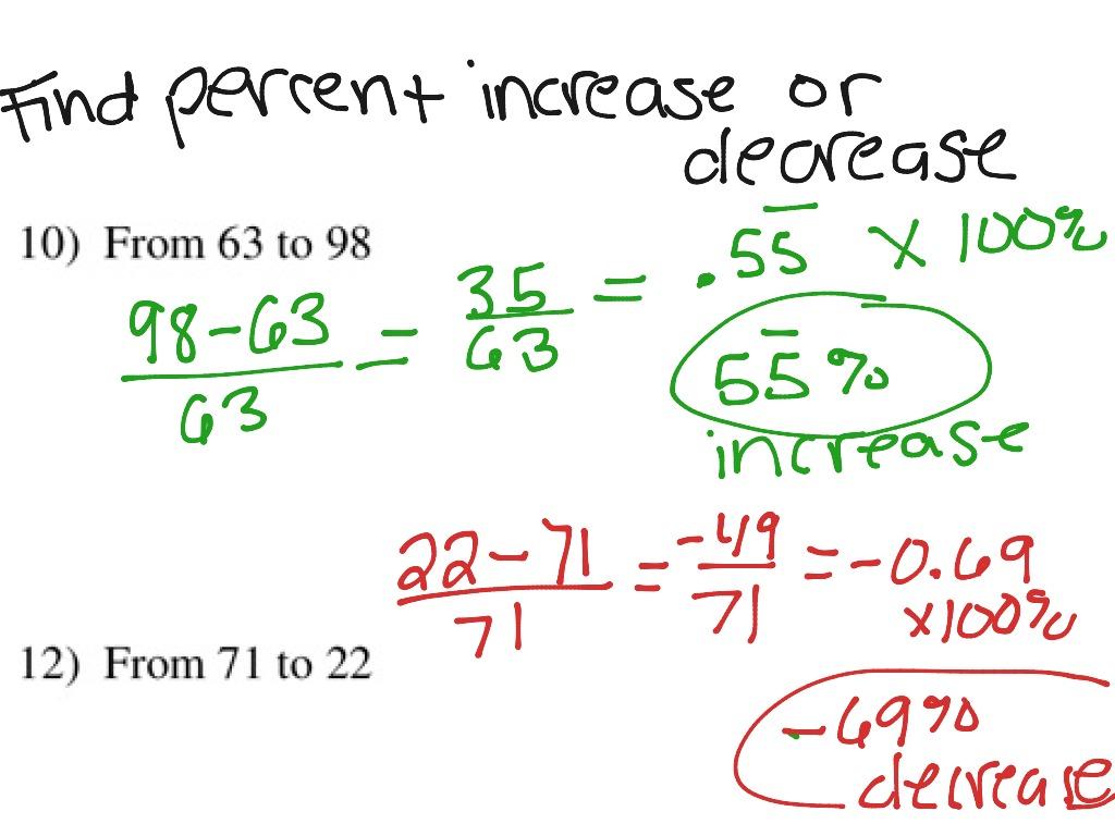 Percent Increase Decrease