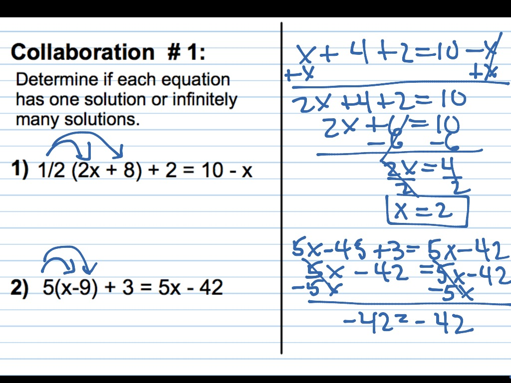 Equations With Infinite And No Solutions Worksheet Answers
