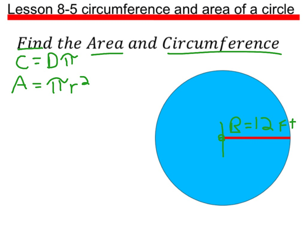 Lesson 8 5 Area And Circumfrence Of A Circle