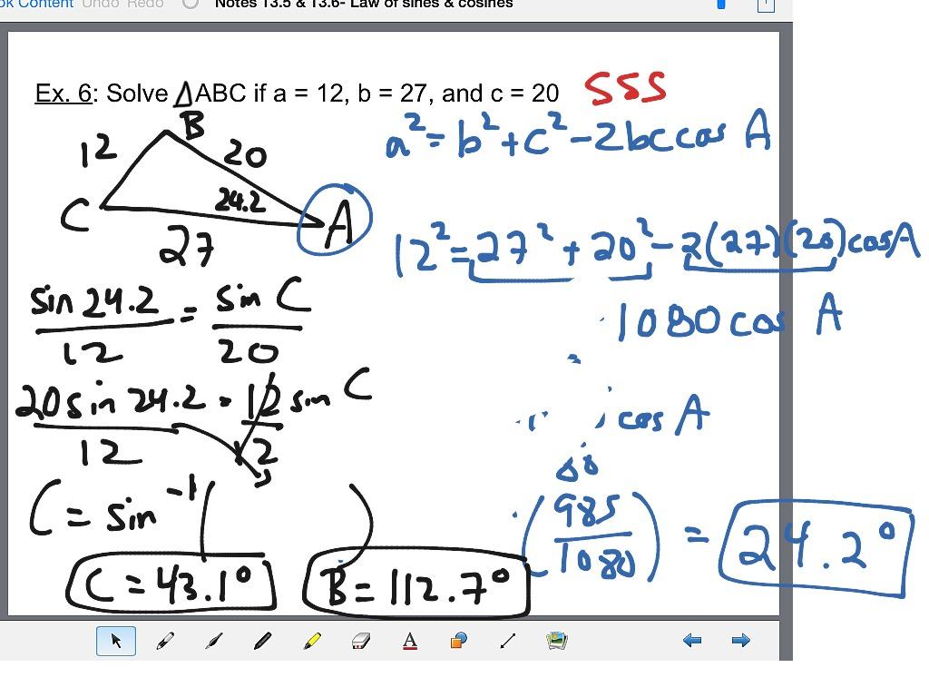 Algebra 2 13 5 Amp 13 6 Law Of Sines And Cosines
