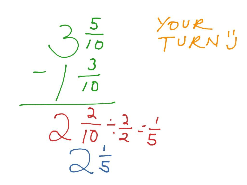 Subtracting Mixed Numbers 7 7