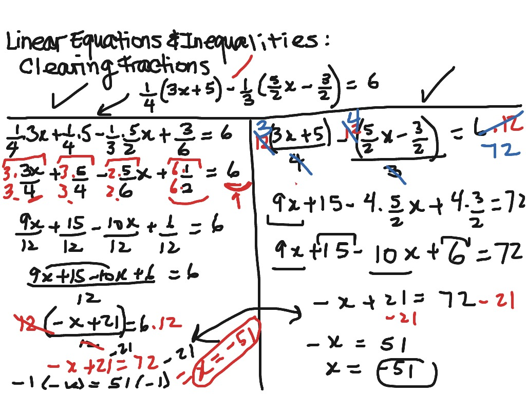 Linear Equations Clearing Fractions