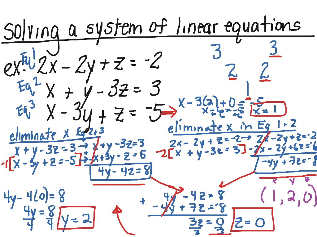 Solving A System Of Linear Equations 3 Variables
